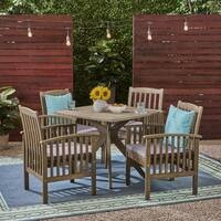 "Casa Outdoor 4-Seater 36"" Square Acacia Dining Set with X-Legs by Christopher Knight Home"