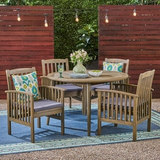 "Casa Outdoor 4-Seater 47"" Round Acacia Dining Set with Straight Legs by Christopher Knight Home"