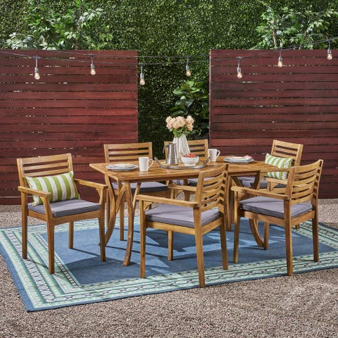 "Casa Outdoor 6-Seater 59"" Rectangular Acacia Dining Set with Carved Legs by Christopher Knight Home"