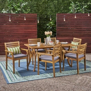"""Casa Outdoor 6-Seater 59"""" Rectangular Acacia Dining Set with Carved Legs by Christopher Knight Home"""