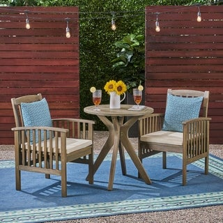 "Casa Outdoor 2-Seater 28"" Round Acacia Wood Bistro Set with X-Legs by Christopher Knight Home"