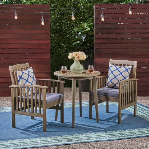 """Casa Outdoor 2-Seater 28"""" Round Acacia Wood Bistro Set with Straight Legs by Christopher Knight Home"""