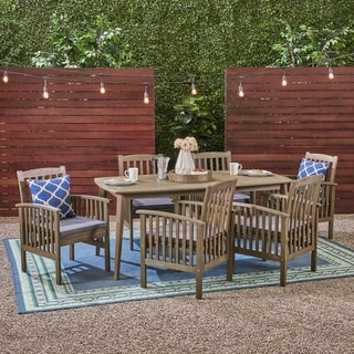 """Casa Outdoor 6-Seater 71"""" Rectangular Acacia Dining Set with Straight Legs by Christopher Knight Home"""