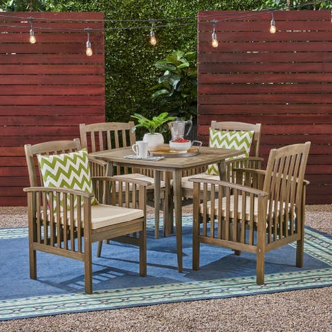"Casa Outdoor 4-Seater 36"" Square Acacia Dining Set with Straight Legs by Christopher Knight Home"