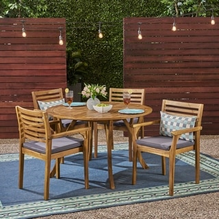 "Casa Outdoor 4-Seater 47"" Round Acacia Dining Set with Carved Legs by Christopher Knight Home"