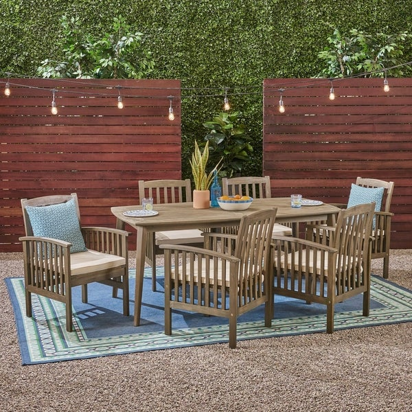 "Casa Outdoor 6-Seater 71"" Rectangular Acacia Dining Set with Straight Legs by Christopher Knight Home. Opens flyout."