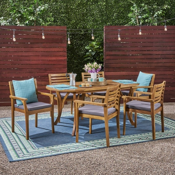 """Casa Outdoor 6-Seater 70"""" Oval Acacia Dining Set with Carved Legs by Christopher Knight Home"""