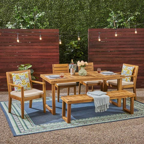 Nestor Outdoor 6-Seater Rectangle Acacia Wood Dining Set with Bench by Christopher Knight Home
