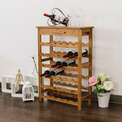 Kinbor 28/36 Bottle Bamboo Wine Display Storage Rack Free Standing Wine Display Shelf w/ Countertop