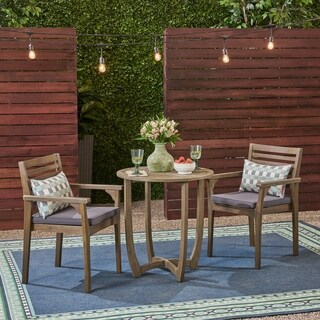 "Casa Outdoor 2-Seater 28"" Round Acacia Wood Bistro Set with Closed Legs by Christopher Knight Home"
