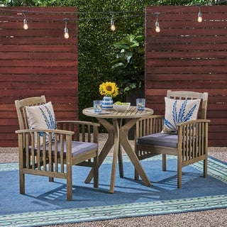 """Casa Outdoor 2-Seater 28"""" Round Acacia Wood Bistro Set with X-Legs by Christopher Knight Home"""
