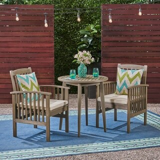 "Casa Outdoor 2-Seater 28"" Round Acacia Wood Bistro Set with Straight Legs by Christopher Knight Home"