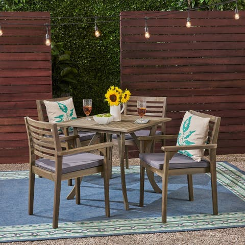 """Casa Outdoor 4-Seater 32"""" Square Acacia Dining Set with Carved Legs by Christopher Knight Home"""
