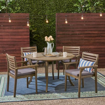 """Casa Outdoor 4-Seater 47"""" Round Acacia Dining Set with Carved Legs by Christopher Knight Home"""