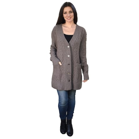 Cashmere Cable Vee Neck Cardigan
