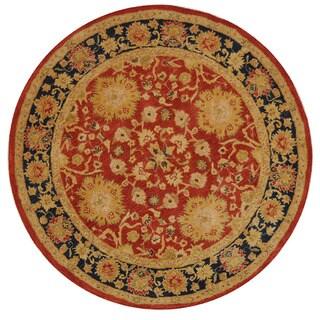 Safavieh Handmade Anatolia Oriental Oushak Traditional Red Hand-spun Wool Rug (6' Round)