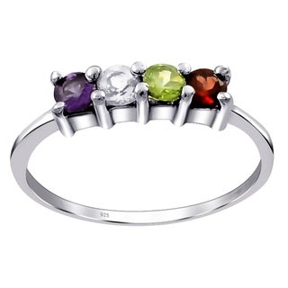 0.55 Carat Multi Color Stone Sterling Silver Wedding Ring By Orchid Jewelry