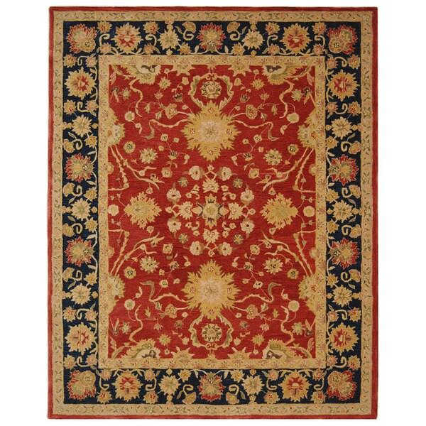 Safavieh Handmade Anatolia Oriental Oushak Traditional Red Hand-spun Wool Rug (6' x 9')