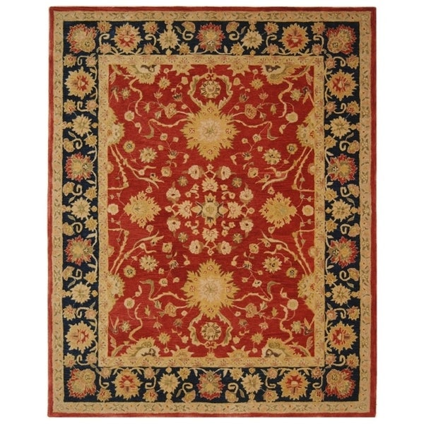 Safavieh Handmade Anatolia Oriental Oushak Traditional Red Hand-spun Wool Rug - 8' x 10'