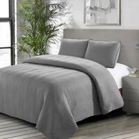 Caprice Quilt Set Gray - Machine Washable - Includes 1 Quilt + 2 Shams - King