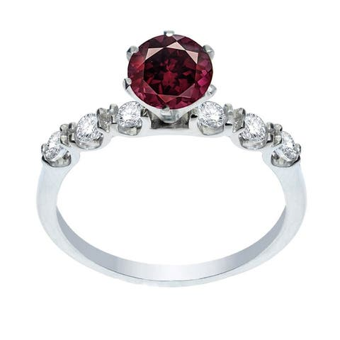 Sterling Silver with Natural Rhodolite Garnet and White Topaz Engagement Ring