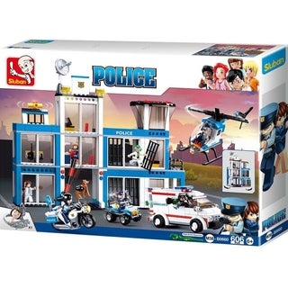 Sluban Kids Toy Police Headquarters Building Blocks 540 Pcs set W/ Police Station, Helicopter, Motorcycle, K9 Dog SLU08631