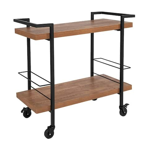 Offex Contemporary Rectangular Rustic Wood Grain and Iron Mobile Kitchen Serving and Bar Cart