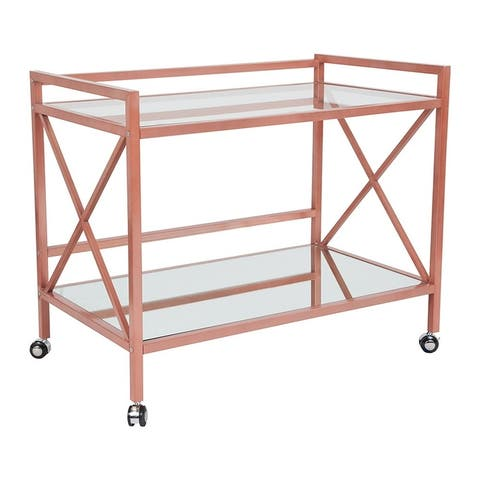 Offex Contemporary Rectangular Glass Mobile Kitchen Serving and Bar Cart with Rose Gold Frame