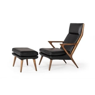Link to Modrest Fulton Modern Black Lounge Chair & Ottoman Similar Items in Accent Chairs