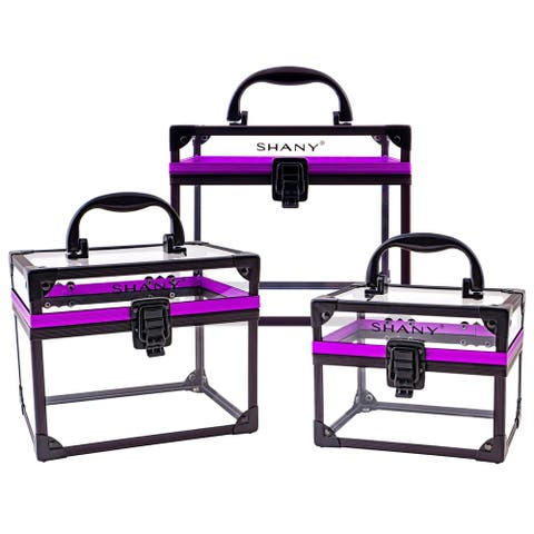 SHANY Extra-Large Clear Cosmetics and Toiletry Train Cases with Secure Closure