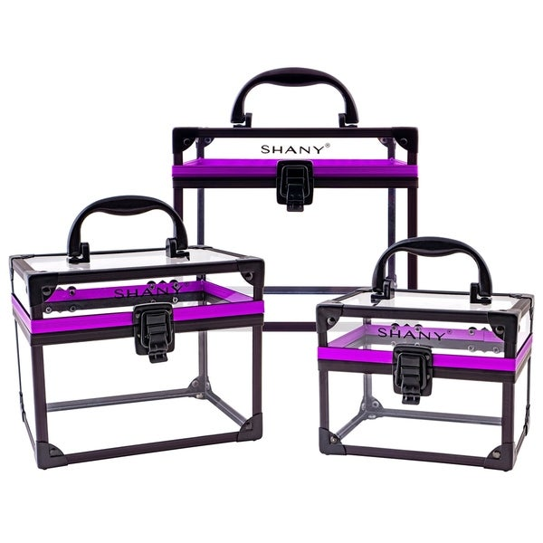 SHANY Extra-Large Clear Cosmetics and Toiletry Train Cases with Secure Closure. Opens flyout.
