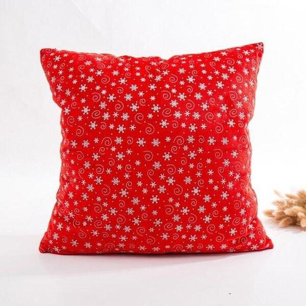 Super Soft Velvet Cushion Cover Red snowflake series 21297195-282