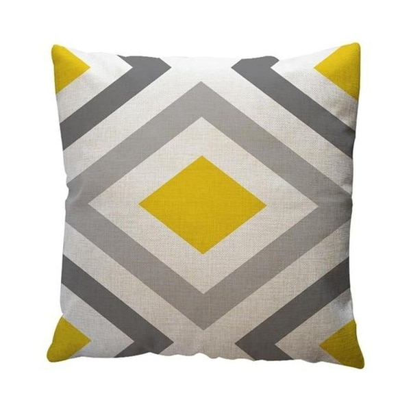 Yellow Geometric Pattern Throw Pillow Case Cushion Cover 19280645-128