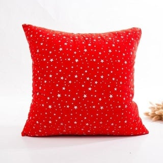 Super Soft Velvet Cushion Cover Red snowflake series 21297195-281