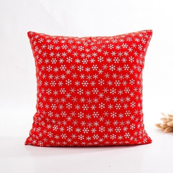 Super Soft Velvet Cushion Cover Red snowflake series 21297195-285