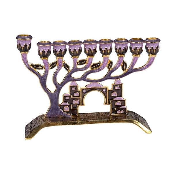 Gift Mark Decorative Menorah with Tree of Life and Crystal Accents of Old Jerusalem - Plum
