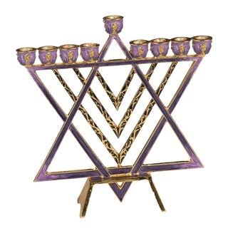 Gift Mark Brass Modern Star of David Decorative Menorah with Plum Colored Inlay