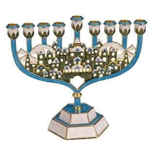 Gift Mark Decorative Jeweled Menorah with Crystal Accents of Old Jerusalem - Blue