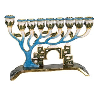 Gift Mark Tree of Life Decorative Menorah with Crystal Accents of Old Jerusalem - Blue