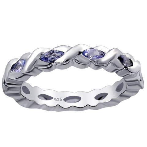 Iolite Sterling Silver Marquise Band Ring by Orchid Jewelry