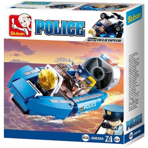 Sluban Kids Police Boat Hoovercraft Building Blocks 74 Pcs SLU08623