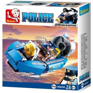 Sluban Kids Police Boat Hoovercraft Building Blocks 74 Pcs SLU08623