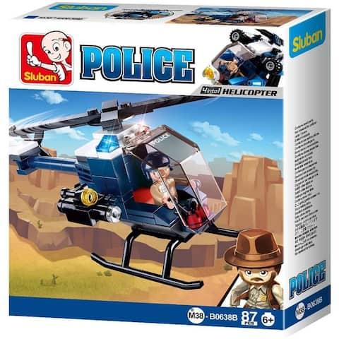 Sluban Kids Police Helicopter Building Blocks 87 Pcs SLU08624