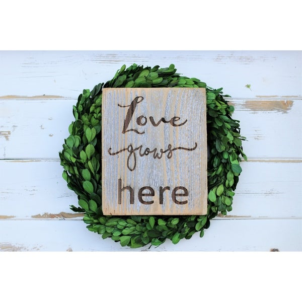 Love Grows Here Engraved 5x7 Sign