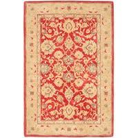 Safavieh Handmade Anatolia Oriental Red/ Ivory Hand-spun Wool Rug (4' x 6')