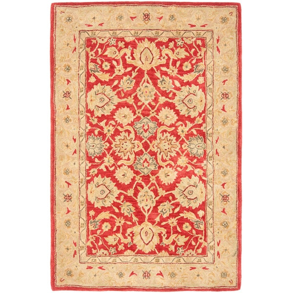 Safavieh Anatolia Handmade Red / Ivory Wool Rug (4' x 6')