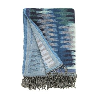 Bohemian Wool Collection Yarn Dyed Ikat Blue Throws
