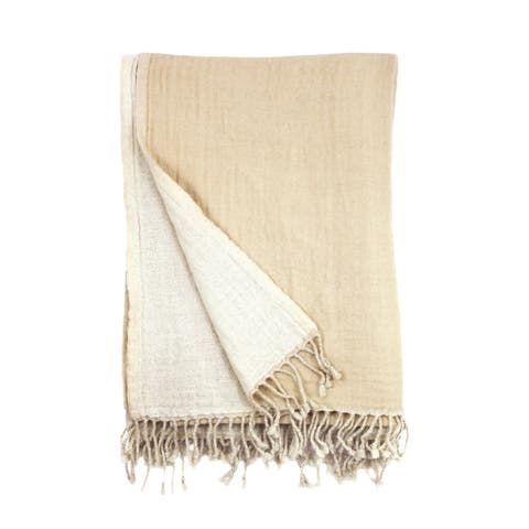 100% Merino Wool Collection Natural and Linen Reversible Throws