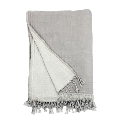 100% Merino Wool Collection Gray and Ivory Reversible Throws