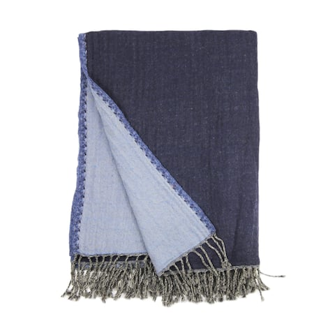 100% Merino Wool Collection Navy and Blue Reversible Throws
